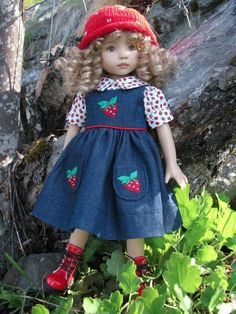 """~STRAWBERRY TWINS JUMPER!~by Tuula fits 13"""" Effner Little Darling to a """"t""""!"""