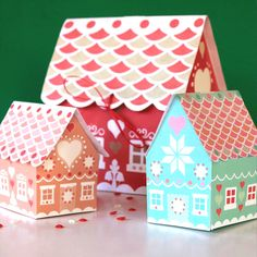 Gingerbread house printable gift box patterns by Happythought!
