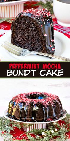 Peppermint Mocha Bundt Cake - peppermint bits and a rich chocolate mocha glaze add a delicious and pretty flair to this chocolate bundt cake! Make this easy recipe for all your holiday parties! Easy Holiday Recipes, Christmas Desserts, Fun Desserts, Christmas Holiday, Christmas Foods, Holiday Foods, Christmas Baking, Christmas Recipes, Holiday Ideas