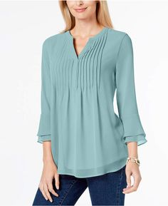 Charter Club Pleated Sheer Blouse, Created for Macy's - Green XXL Blouse Styles, Blouse Designs, Kurta Designs, Formal Tops, Kurti Designs Party Wear, Designs For Dresses, Spring Fashion Outfits, Fashion Clothes, Blouses For Women