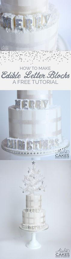 Learn how to make these super cool edible glitter letters!  Free cake tutorial at www.avaloncakesschool.com