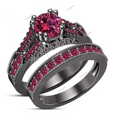 Double Prong Set. 1.53 CT Round Pink Sapphire 14K Black Gold Fn Bridal Ring Set #aonejewels
