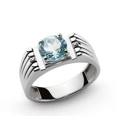 925 Sterling Silver Men's Ring with Blue Topaz and Natural Diamonds