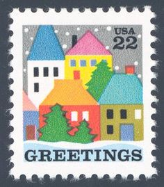 1986_10_24 $.22 This contemporary Christmas stamp depicts a village scene (designed by Dolli Tingle)