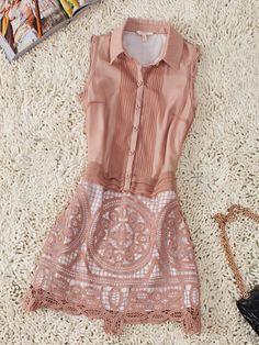 Coffee Sleeveless Pintucks Crochet Floral Shirt Dress