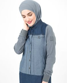 Charcoal Denim Jilbab, Abaya - Your classic denim design with a cotton sleeve twist.Ñre looking for fine details and soft fabrics, this is your Jilbab Abaya Fashion, Modest Fashion, Denim Abaya, Shirt Skirt, Designer Collection, Hooded Jacket, Abayas, Charcoal, Stylish