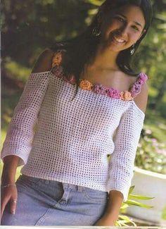 """diy_crafts-Maglia a filet """"Flower off-shoulder top, crochet (tunique"""", """"White Mesh Top with Flower Trim free crochet graph pattern ☆"""", """"Mak T-shirt Au Crochet, Pull Crochet, Mode Crochet, Crochet Shirt, Crochet Woman, Filet Crochet, Crochet Tops, Knitting Patterns, Crochet Patterns"""
