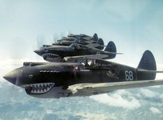 Curtiss P-40 Warhawks - AVG Flying Tigers, 3rd Squadron Hell's Angels. Photo taken May 28, 1942 near the Salween River Gorge, Burma Theatre.