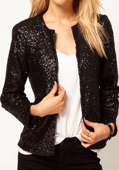 Shining Sequins Design Blazer - Black #fashion #stylish #dress #lookbookstore #tops #bottoms #outerwears
