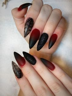 49 Cool Halloween Nail Art Ideas You Should Try - Litestylo. Goth Nail Art, Goth Nails, Stiletto Nails, My Nails, Pointed Nails, Halloween Nail Designs, Halloween Nail Art, Perfect Nails, Gorgeous Nails
