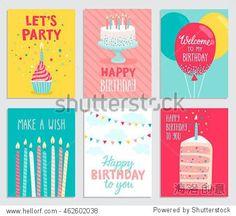 Birthday card set. Vector illustration.