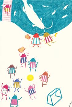 Didis are relaxing in the park. Children's Picture Book Illustration by Yodchat Bupasiri for Ilustrarte 2014 competition / kids / children / happiness / playground / park / football / http://yodchatbupasiri.wordpress.com/