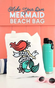 Tips For Just A Second Wedding Ceremony Anniversary Reward Diy Mermaid Bag - Make This Cute Bag With This Make Waves Mermaid Svg Cut File And Your Silhouette Or Cricut - Perfect For This Summer Mermaid Crafts, Mermaid Diy, Mermaid Beach, Vintage Mermaid, Mermaid Tails, Vinyl Crafts, Vinyl Projects, Craft Projects, Craft Ideas