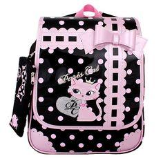 Paris cat School Bag Backpack for Girls, Kids, Child, Pink and Black color