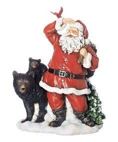 Santa with Black Bear Figurine - Roman Color: Multi-Colored. Santa with Black Bear Figurine - Roman Multi-Colored Roman Love, Santa Pictures, Black Christmas, Religious Art, Black Bear, Bowser, Hand Painted, Animals, Animales