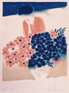 """xixxxxxi: """" André Brasilier, Bouquet Parisien, 1975, Lithograph """""""