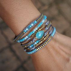 Blue mix layer bracelet, Boho bracelet, Beaded bracelet, Bridal gift