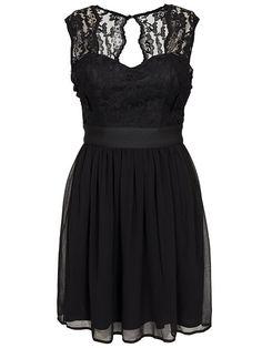 Lace Top Chiffon Dress - Elise Ryan - Black - Party Dresses - Clothing - Women - Nelly.com