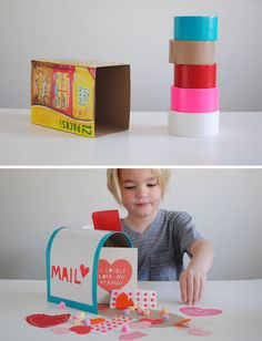 Mer Mag Duct Tape Mail Box - very cute and so clever for classroom Valentine parties!