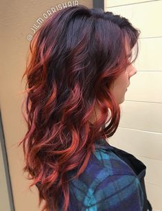 Fiery red fall hair, balayage highlights, violet red & copper, curls & waves