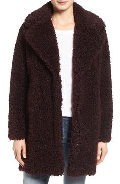kensie 'Teddy Bear' Notch Collar Faux Fur Coat (Online Only) available at #Nordstrom