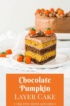 Chocolate pumpkin cake features two layers of chocolate cake two layers of pumpkin spice cake and lots of chocolate buttercream frosting. If you love chocolate pumpkin and fall spices together then youll love this dessert! via the itsy-bitsy kitchen Chocolate Pumpkin Cake, Pumpkin Spice Cake, Pumpkin Dessert, Dessert Chocolate, Cupcake Recipes, Cupcake Cakes, Dessert Recipes, Cupcakes, Chocolate Buttercream