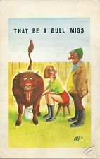 Comic / Saucy Postcard Giggle Cards That Be a Bull Miss  5057 AJW used condition