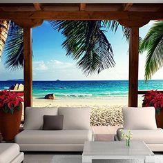 Spiaggia Scena Fotomurali Paesaggio marino tropicale Carta Da Parati Camera da