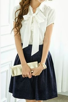 White Bow Shirt With Maxi and Clutch