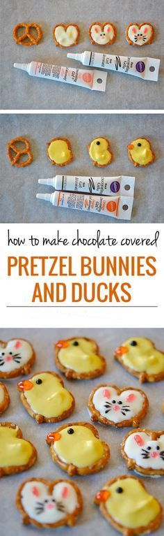 Want a super-adorable, easy-to-make Easter snack? Look no further than these pretzel bunnies and ducks – only a few ingredients will transform these pretzels into a festive treat! For the pretzel ducks: yellow Meckens chocolate pretzels orange decorating gel black decorating gel Melt the chocolate in the microwave for 2 minutes at a really low [...]