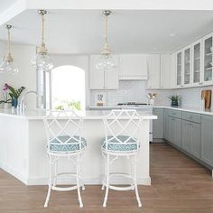 White and Gray Kitchen with White Bamboo Counter Stools