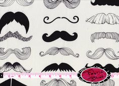 MUSTACHE Fabric by the Yard Half Yard Fat Quarter ALEXANDER HENRY Mustache Fabric Wheres my Stache Quilting Apparel 100% Cotton Fabric t3-2 on Etsy, $3.75