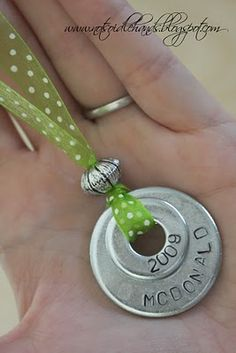 like these necklace made out of washer can cover with scrapbook paper with mod podge