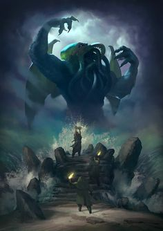 Hey folks, another Cthulhu piece. This time more of an illustration than an environment piece. Sacrifice to Cthulhu Dark Fantasy Art, Fantasy Artwork, Fantasy Kunst, Hp Lovecraft, Lovecraft Cthulhu, Necronomicon Lovecraft, Cthulhu Art, Cthulhu Tattoo, Call Of Cthulhu Rpg