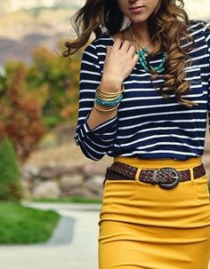 So cute. Mustard skirt!!! Don't hate on the mustard.