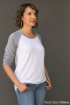 Oversized version - Rivage Raglan - Women's Raglan T-shirt Sewing Pattern by Blank Slate Patterns