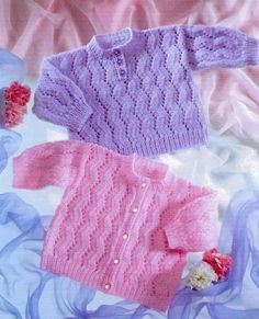 Vintage Knitting Pattern Baby Cardigan and Jumper Baby Cardigan Knitting Pattern Free, Double Knitting Patterns, Baby Sweater Patterns, Knitted Baby Cardigan, Knit Baby Sweaters, Baby Patterns, Knit Patterns, Baby Shawl, Cardigan Pattern