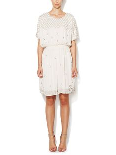 Bead Embellished Dolman Sleeve Dress  by Avaleigh at Gilt