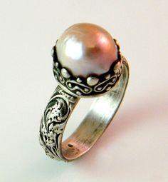 Sale Victorian Cultured  Pearl Ring by bezaleljewels on Etsy, $125.00