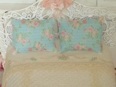 Dollhouse Turquoise roses shabby pillow. Designing by Anabela.
