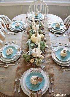 Coastal Thanksgiving Tablescape blue autumn fall table tablescape china pumpkin thanksgiving thanksgiving pictures coastal