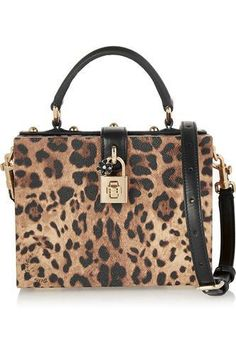 ❤️ Dolce small leopard-print textured-leather shoulder bag #bag #women #covetme #dolce&gabbana