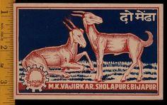 """Two Goats""....Large Matchbox Label....Unusual....NICE | eBay"