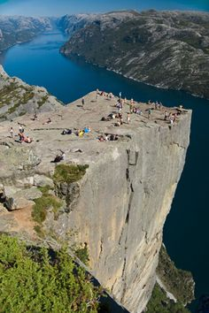 Preikestolen, Norway. Watch your step. How pretty, but I would literally have to crawl....terrified of heights