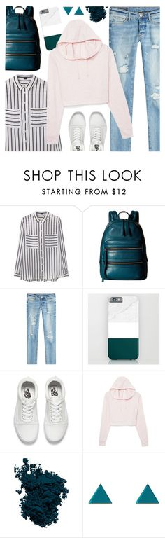 """""""OOTD - Cropped Hoodie"""" by by-jwp ❤ liked on Polyvore featuring MANGO, Marc Jacobs, True Religion, Vans, Laura Mercier and Wolf & Moon"""