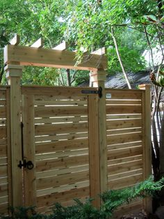 Lanark Cedar Horizontal Acacia gate and panel, with cedar gate brace and Snug Cottage gate hardware Wood Fence Gates, Wooden Garden Gate, Fence Gate Design, Diy Fence, Garden Doors, Backyard Fences, Garden Gates, Wooden Fence, Fence Ideas