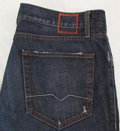Hugo Boss Relaxed Straight Leg Jeans Distressed Dark Wash Button Fly sz  38 X 34 #HUGOBOSS #ClassicStraightLeg