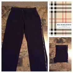 "Burberry Jogging Pants Burberry Jogging Pants are made of 98% Cotton and 2% Elastane. Size Small. The Color is Black. Laying flat ""13. Length ""40. Inseam ""31. This item is NOT new, It is used and in Good condition. Authentic and from a Smoke And Pet free home. All Offers through the offer button ONLY.  Ask any questions BEFORE purchase. Please use the Offer button, I WILL NOT negotiate in the comment section. Thank You  Burberry Pants Track Pants & Joggers"