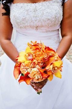 Gold and copper wedding bouquet Orchids, roses, callas etc... www.enchantedfloristskippackevents.com