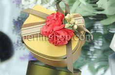 Hochzeit Süßigkeitkasten, mit Satinband, Katze, Spritzlackierung, goldfarben, frei von Nickel, Blei & Kadmium, 68x56x33mm